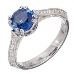 GIA Certified 1.26 Carat Sapphire Diamond White Gold Engagement Ring