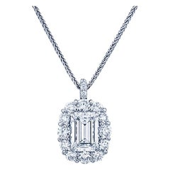 GIA Certified 1.27 Carat Emerald Diamond Solitaire Halo Pendant and Necklace 14K