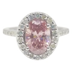 GIA Certified 1.27 Carat Natural Fancy Pink Oval Shape Diamond Ring