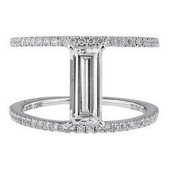 GIA Certified 1.27 Carat Natural Untreated White Diamond White Gold Ring