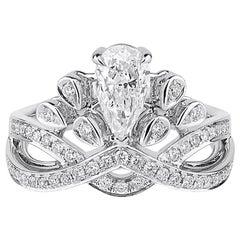 GIA Certified 1.27 Carat Natural White Diamond Engagement Wedding Ring