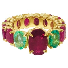 GIA Certified 12.70 Carat Ruby and Emerald Cocktail Ring