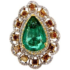 GIA Certified 12.77ct natural emerald fancy colors cocktail diamond ring 18kt