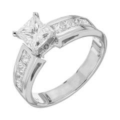 GIA Certified 1.28 Carat Diamond White Gold Engagement Ring
