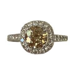 GIA Certified 1.28 Carat Fancy Light Brown Round Diamond Ring 18 Karat Gold