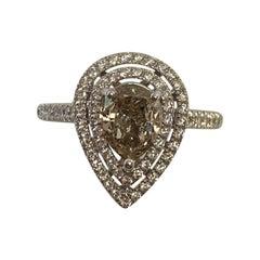 GIA Certified 1.28 Carat Natural Fancy Yellow Pear Diamond Ring 18 Karat Gold