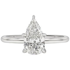 GIA Certified 1.28 Carat Pear Shape Diamond Solitaire Engagement Ring