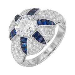 GIA Certified 1.29 Carat Calibre Sapphire Diamond Platinum Domed Engagement Ring