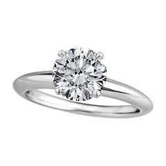 GIA Certified 1.29 Carat Ideal Cut Round Brilliant Diamond Engagement Ring