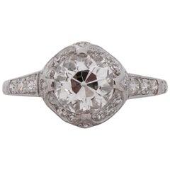 GIA Certified 1.30 Carat Art Deco Diamond Platinum Engagement Ring