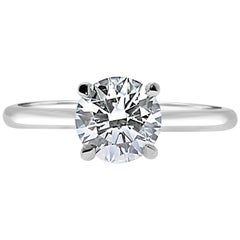 GIA Certified 1.30 Carat Brilliant Cut Solitaire Ring 18 Karat White Gold