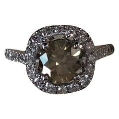 GIA Certified 1.30 Carat Fancy Brownish Yellow Round Diamond Ring 18 Karat Gold