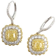 GIA Certified 1.30 Carat Natural Fancy Yellow Diamond Lever-Back Hoop Earrings