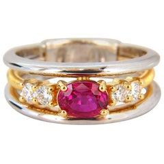 GIA Certified 1.30 Carat Natural Vivid Red Ruby Diamonds Ring 18 Karat Coil Wrap