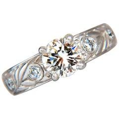 GIA certified 1.30ct. Round cut diamonds ring G/VVS-1 platinum classic & Wreath