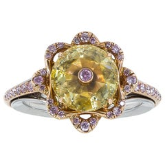 GIA Certified 1.31 Carat Fancy Yellow Diamond Cocktail Ring