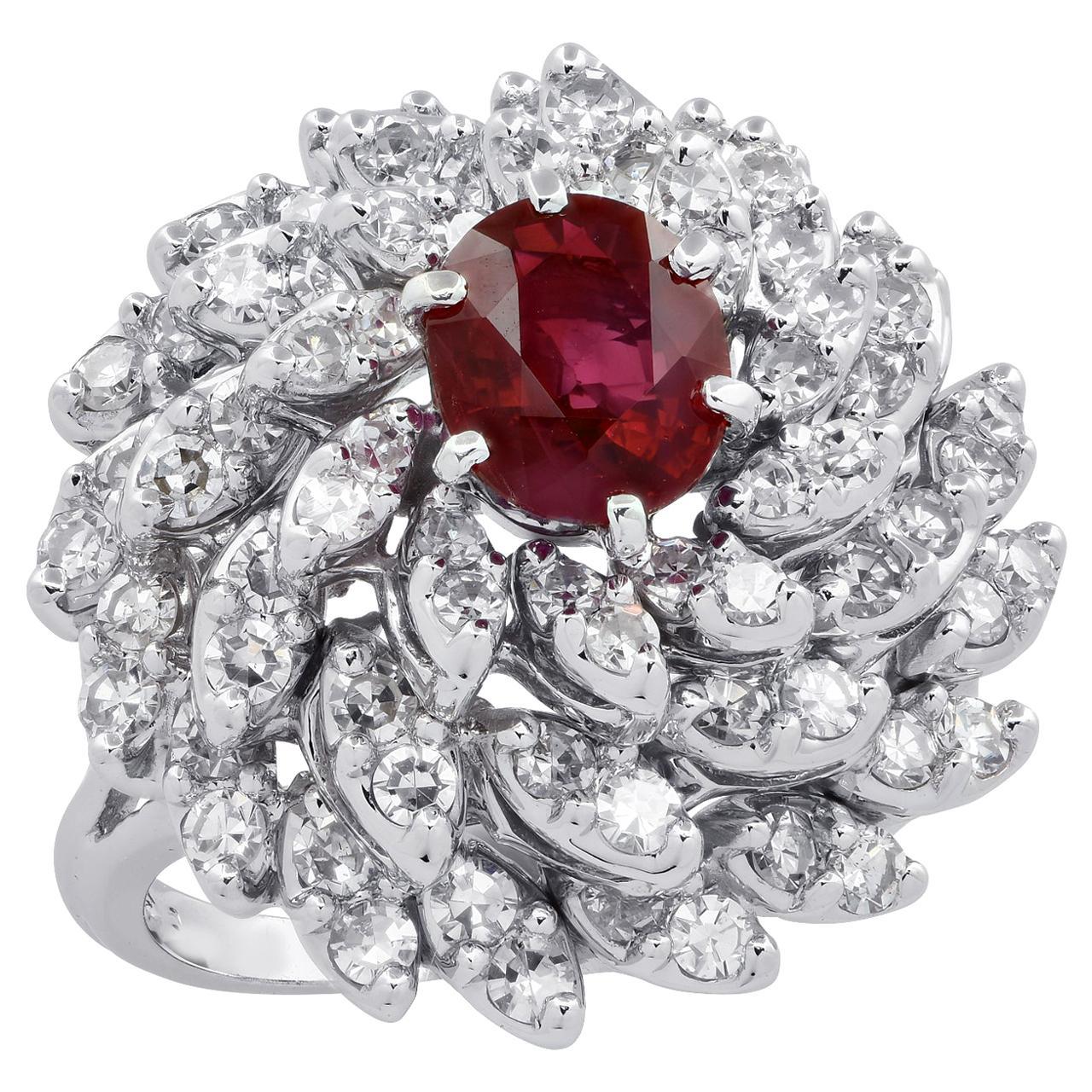 GIA Certified 1.31 Carat Ruby Cocktail Ring