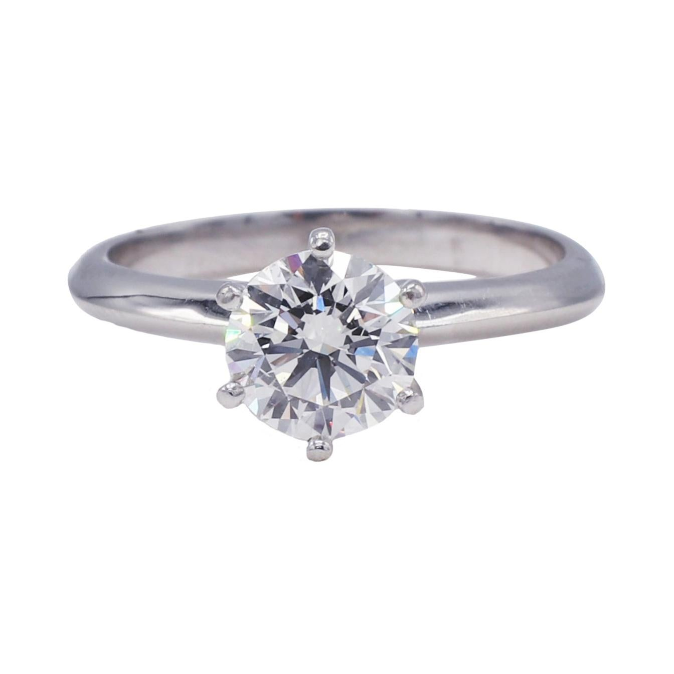 GIA Certified 1.32 F SI1 Round Diamond Platinum Solitaire Engagement Ring