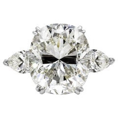 Roman Malakov GIA Certified 13.23 Carat Cushion Cut Diamond Three-Stone Ring
