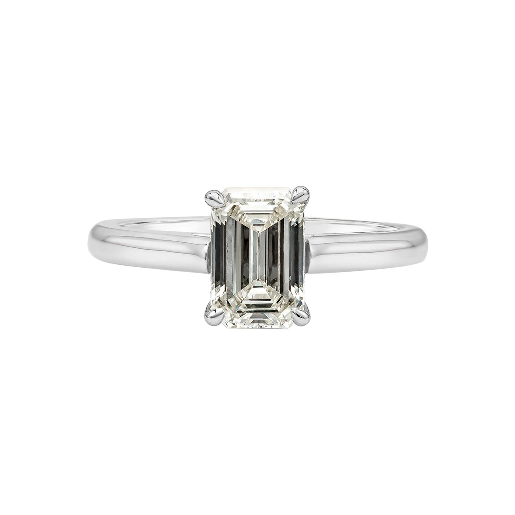 GIA Certified 1.33 Carat Emerald Cut Diamond Solitaire Engagement Ring