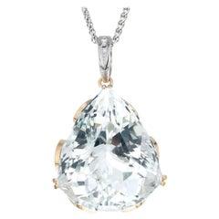 GIA Certified 133.28 Carat Topaz Diamond Yellow White Gold Pendant Necklace