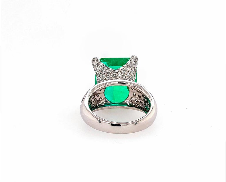 Mixed Cut GIA Certified 13.35 Carat Emerald Diamond Cocktail Ring For Sale
