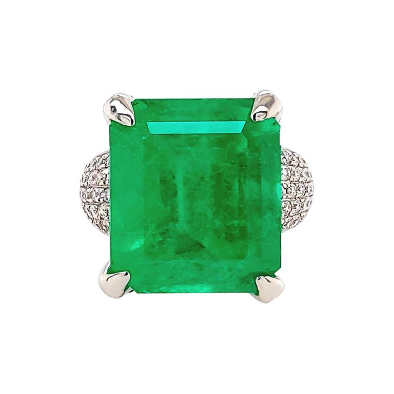GIA Certified 13.35 Carat Emerald Diamond Cocktail Ring For Sale