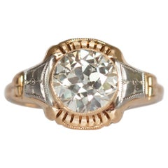 GIA Certified 1.34 Carat Diamond Yellow Gold and Platinum Engagement Ring