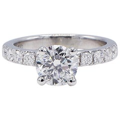 GIA Certified 1.35 Carat F I1 Round Brilliant Diamond Engagement Ring