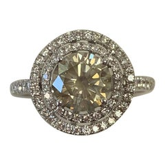 GIA Certified 1.35 Carat Fancy Brown Round Diamond Ring 18 Karat White Gold