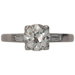 GIA Certified 1.35 Carat Platinum Engagement Ring