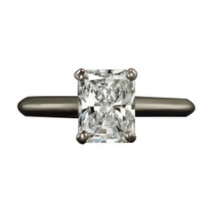 GIA Certified 1.35 Carat Radiant Cut Diamond Solitaire Engagement Ring