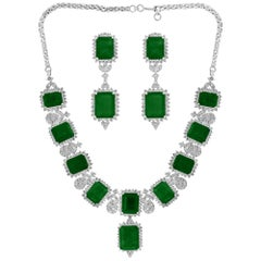 GIA Certified 135 Ct Emerald and 28 Ct Diamond Necklace and Earring Bridal Suite