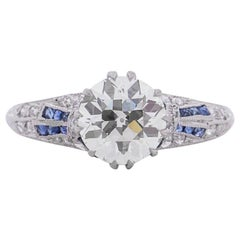 GIA Certified 1.36 Carat Art Deco Diamond Platinum Engagement Ring