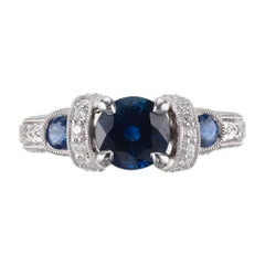 GIA Certified 1.36 Carat Blue Sapphire Diamond Platinum Engagement Ring