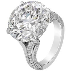 GIA Certified 13.67 Carat Round Diamond Engagement Ring