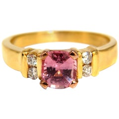 GIA Certified 1.36ct Natural No Heat Padparadscha Sapphire Diamonds Ring 14kt