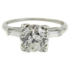 GIA Certified 1.37 Carat Old European Cut Diamond Platinum Engagement Ring