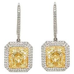 GIA Certified 13.79 Carat Diamond Platinum Drop Earrings