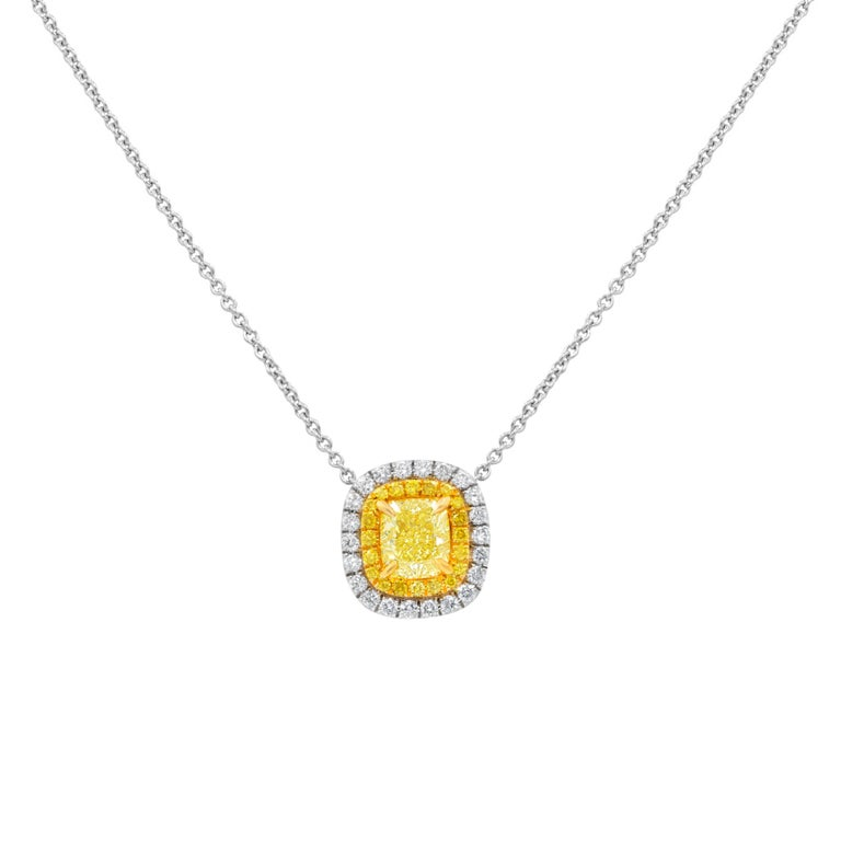GIA Certified 1.38 Carat Canary Yellow Diamond Pendant For Sale