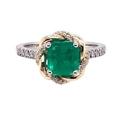 GIA Certified 1.38ct F1 Emerald 14K White / Yellow Gold Ring