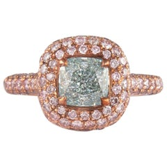 Alexander GIA 1.38ct Fancy Light Blueish Green Diamond with Fancy Pink Diamonds