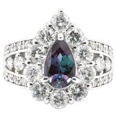 GIA Certified 1.39 Carat, Brazilian Alexandrite and Diamond Ring Set in Platinum