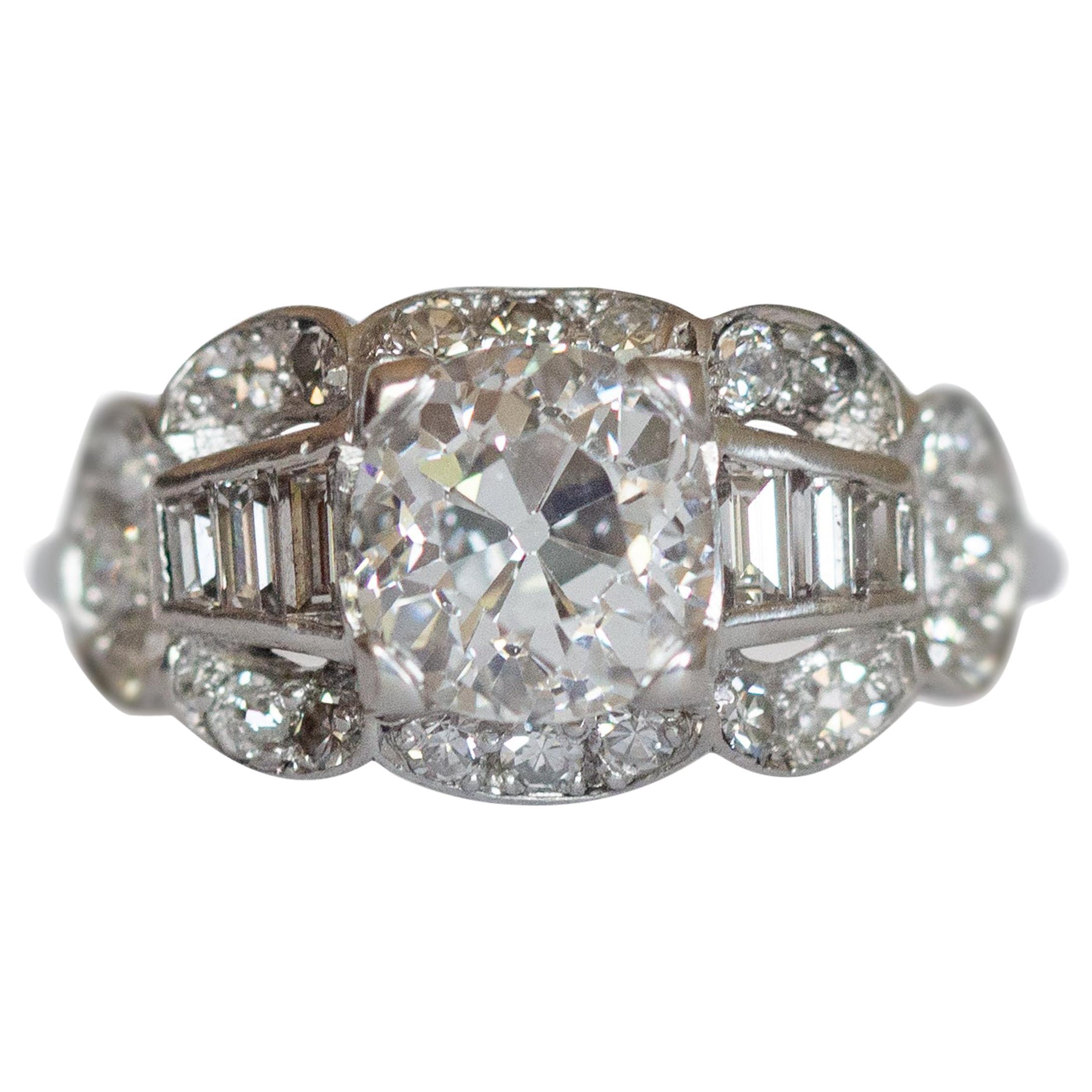 GIA Certified 1.39 Carat Diamond Platinum Engagement Ring