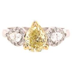 GIA Certified 1.39 Carat Fancy Yellow Pear Shape Diamond 3-Stone Ring 18KTT