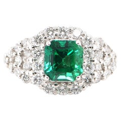 GIA Certified 1.39 Carat Natural Emerald and Diamond Ring Set in Platinum