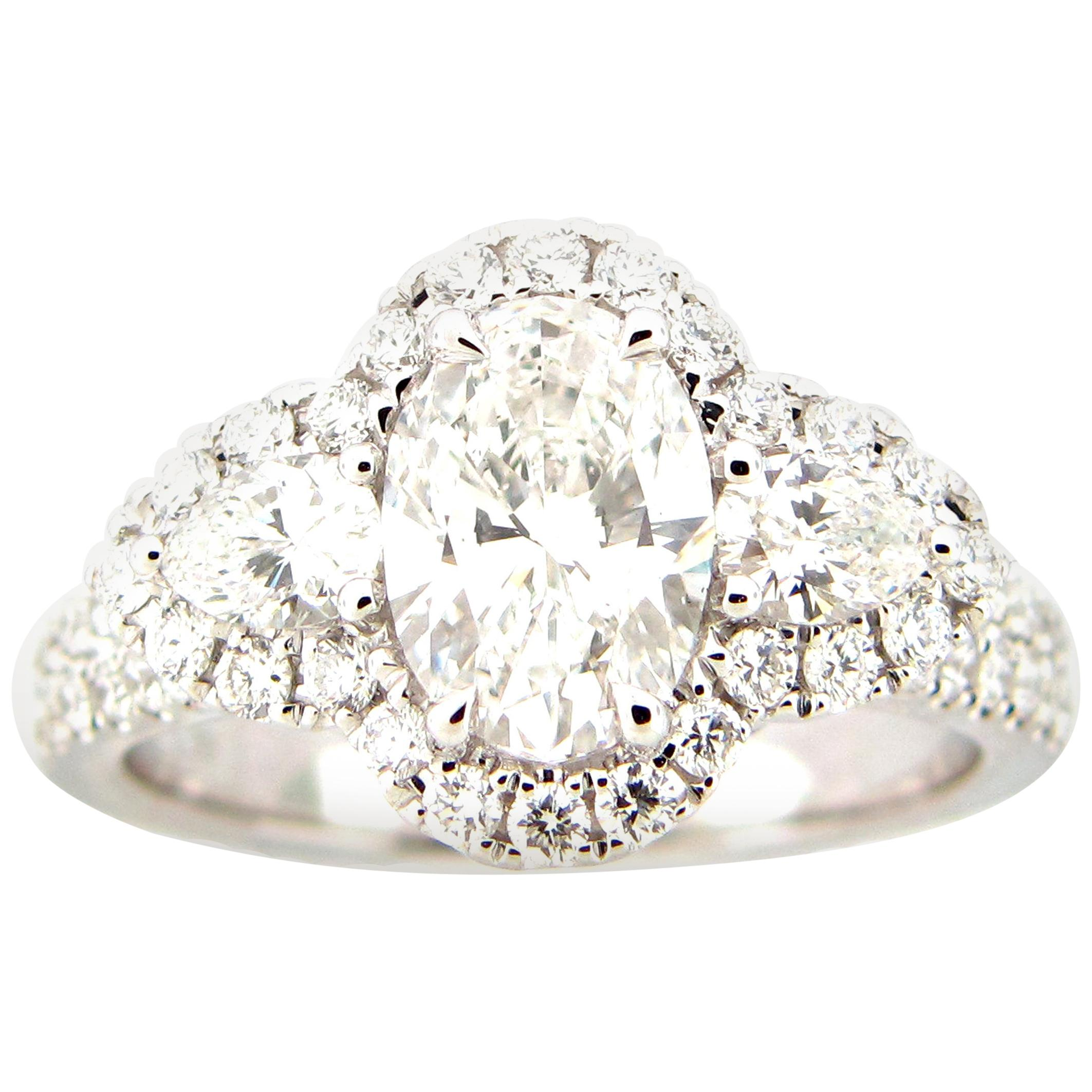 GIA Certified 1.39 Carat Oval Diamond Engagement Ring