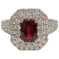 GIA Certified 1.39 Carat Ruby and Diamond Ring