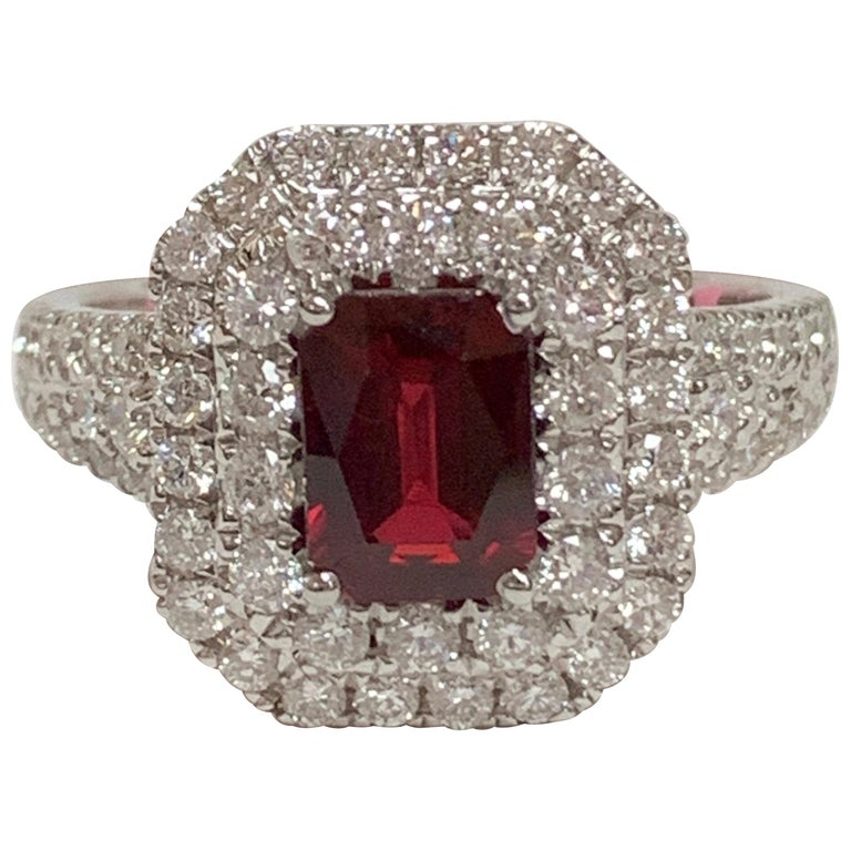 GIA Certified 1.39 Carat Ruby and Diamond Ring For Sale