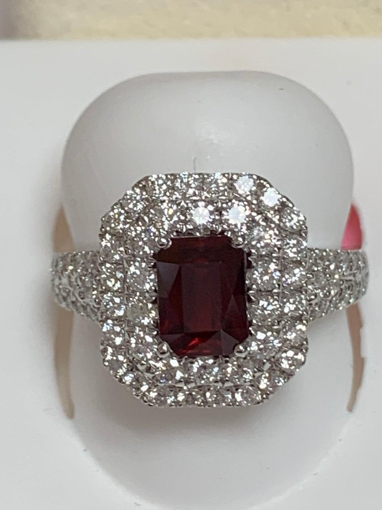 GIA Certified 1.39 Carat Ruby and Diamond Ring For Sale 4